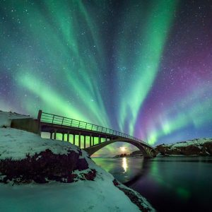 Northern Lights Over Bridge